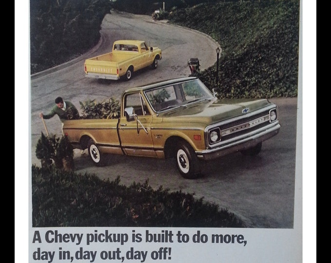 69 Chevy Truck Yellow and 1 tan brown.  Errands are easier with a Chevy.  Ready for Framing.