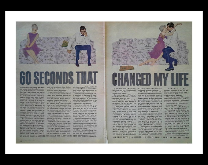 """Couples in Love Kiss & Make Up on couch Story Illustration '60 Seconds that Changed My Life"""" Cute  Loving Couple 2 pages. Ready for Framing."""