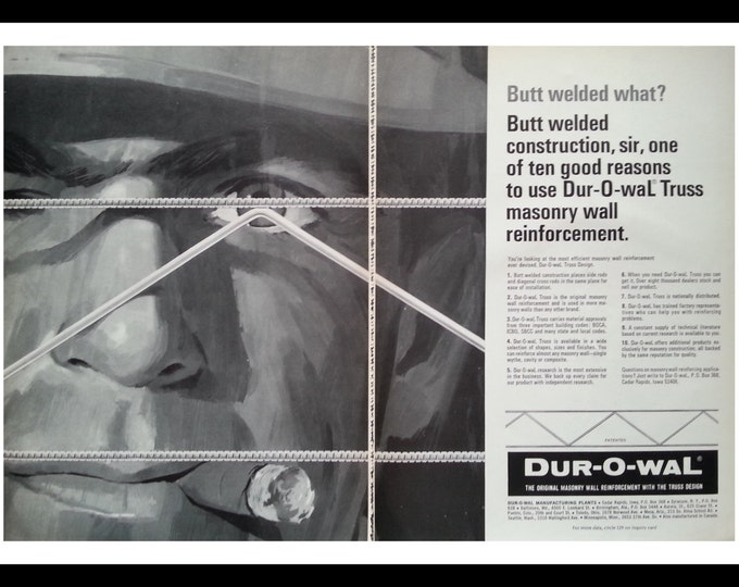 Welding Art Blue Collar Man Cave Art Giant Face Cigar In Mouth Ad  Illustration. Architectural Record 1968. ~8X11. Ready for Framing.