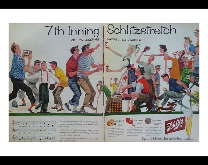 Baseball Fans & Beer Schlitz  50s Fun Man Cave or Cabin Art.  Parents Little League fights. 2 pages. Beer Ad. Ready Frame.
