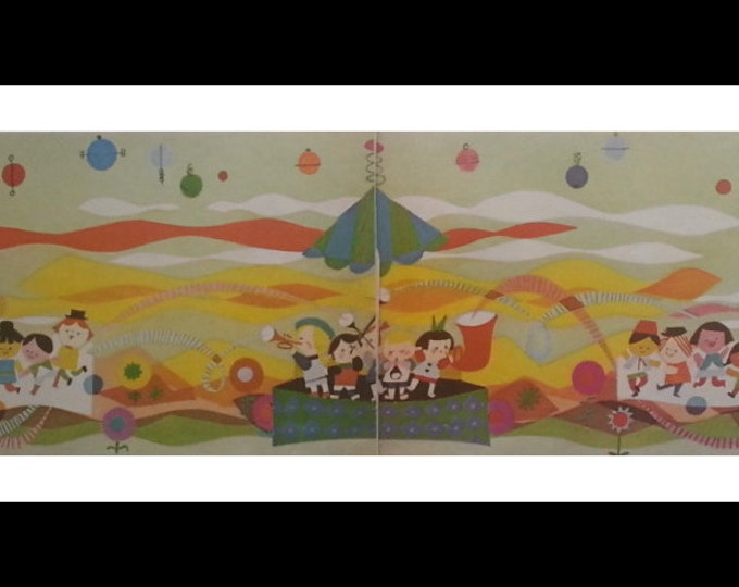 Kids and Mobiles and Music and Illustrated Joy.  Baby or Nursery Room Mural.  New Baby Gift.  20 x 5.  Ready for Framing.