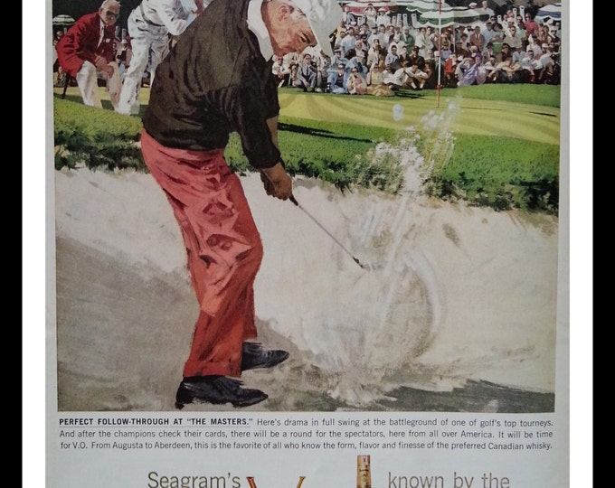 Golf Ad art Illustrated Sand Trap Shot for Seagrams Whiskey.  Golf Fan Man Cave Ad Art.  Links Illustration.  ~13 x 10.  Ready to Frame