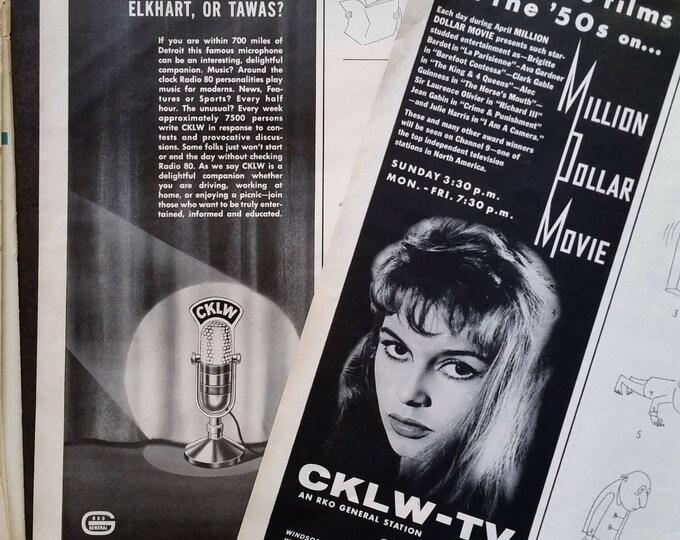 CKLW-TV Detroit-Windsor Channel 9 Vintage TV R.K.O. Million Dollar Movie Bridget Bardot C.K.L.W. Microphone 1/2 page ads 2 pages Ready Frame