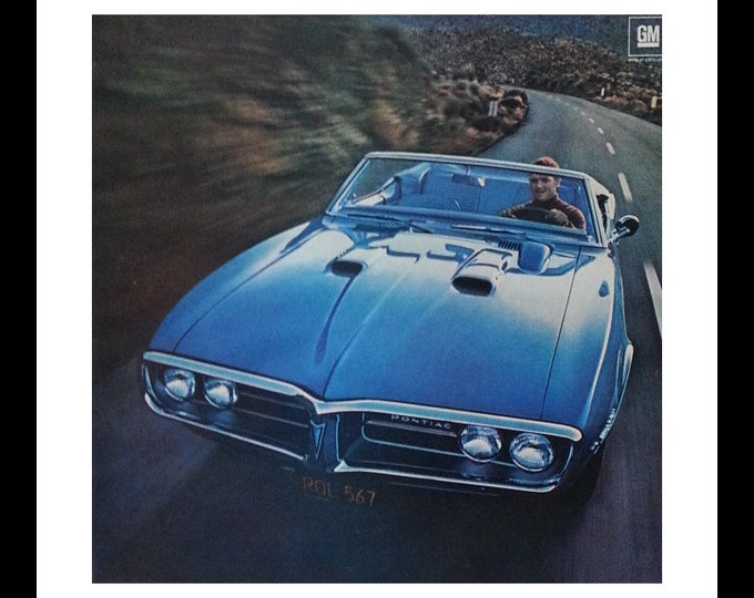 67 Pontiac Firebird Blue Convertible flying through the mountain trails.  Elite Muscle Car of 60s.  Camaro's cousin.  13 x 10.