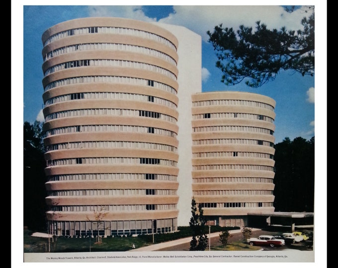 Atl GA Wesley Woods Towers  The Beginning.   Old school days Atlanta GA.  Druid Hills.  Architectural Record 1968. ~8X11. Ready for Framing.