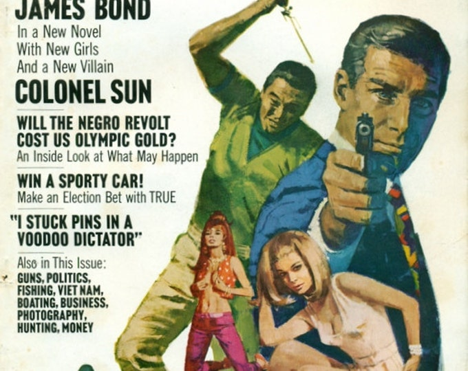 James Bond 007 Movie Poster Movie Room Art condensed book in True Magazine 1960s.  Great Illustrations-3.  20+ pages. Ready for Framing.