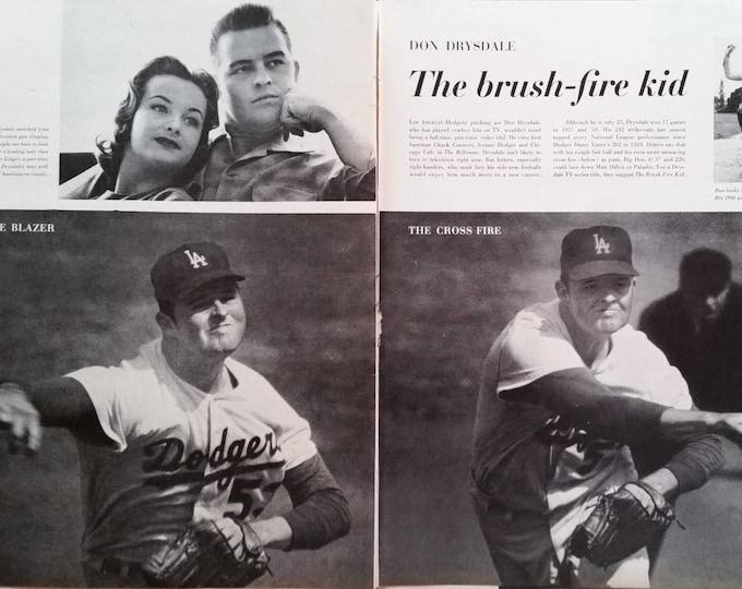"""LA Dodgers 59 """"Big D"""" Don Drysdale World Series Champs Los Angelos vs Chicago White Sox Fan Favorite Pitcher 2 pages 13x10 Frameable"""