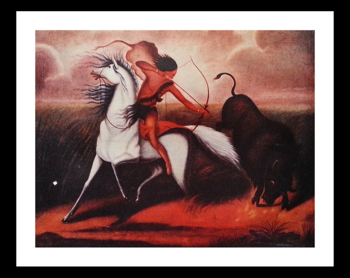 The Buffalo Hunter Unknown Artist.  Life Mag spread.  Indian On White Horse.  Fine Art 1830s.  13 x 10. Ready for Framing.