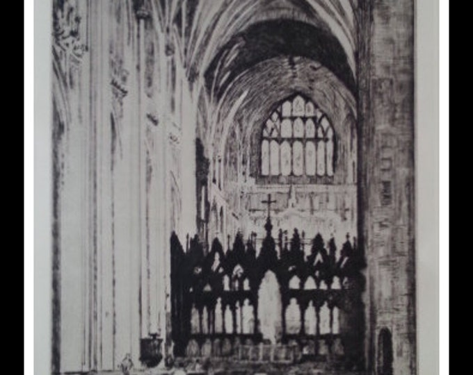 Winchester Cathedral Shrine Vintage 11x7 Black and White Engraving N Wilkinson 1939