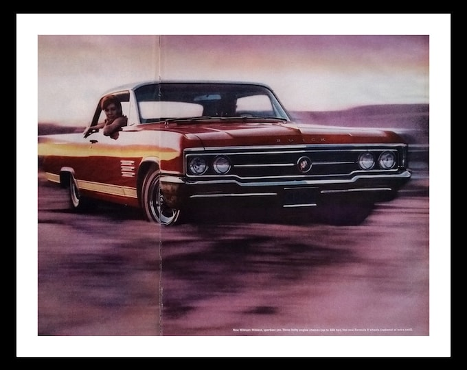 64' Buick Wildcat Red Summertime Swimsuit Clad Couple.  2 page Cool Photo.  Very Sporty.  Vintage hot Rod.  13 x 10.  Ready for Framing.