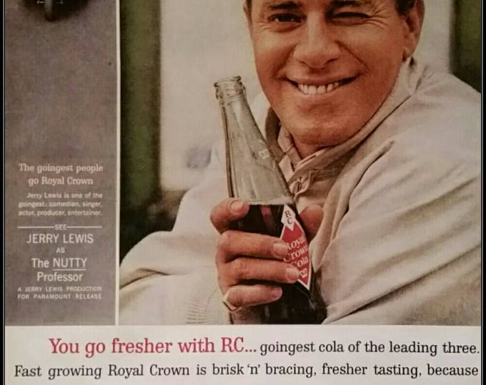 Jerry Lewis funny man with RC Cola soda.  Memorable smile.  Royal Crown Cola 60s.   13 x 10.  Ready for Framing.