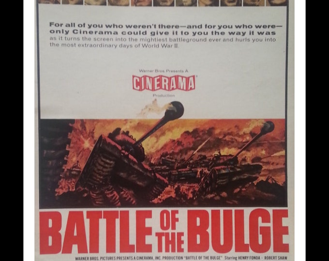WWII Battle Movie Poster.  'Battle of the Bulge' 60s.  Great War Movie.  Blockbuster.  Man Cave.  Ready for Framing.