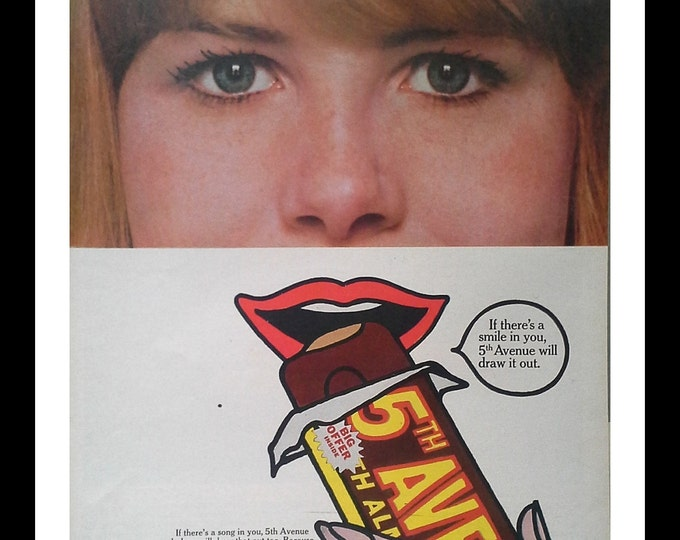 Warhol Pop Art Ad for Candy Bar.  Roy Lichtenstein.  Village Vanguard.  NYC art.  Redhead Red Lips. 13 X 10.  Ready for Framing.