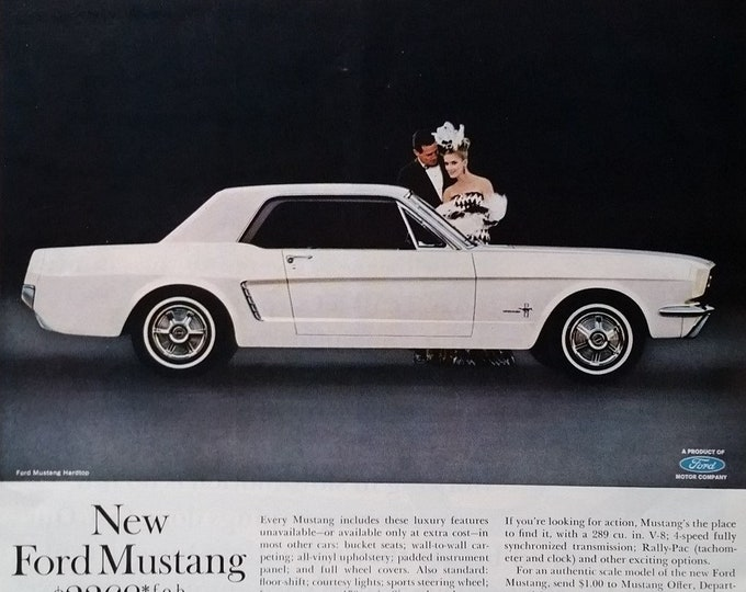64 White Mustang Ford Original Unexpected Design Award Classic Sport Car Elegant Couple 1964 Detroit Cool 13x10 Ready Framing