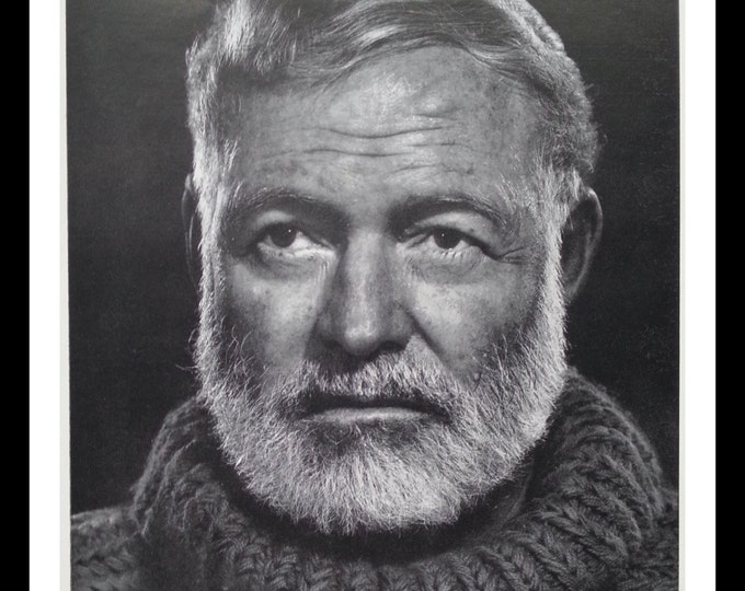Ernest 'Papa' Hemingway in Cuba.   Photo by Karsch.  Farewell to Arms writer; in his 'lonely anguish' portrait.  14x10.