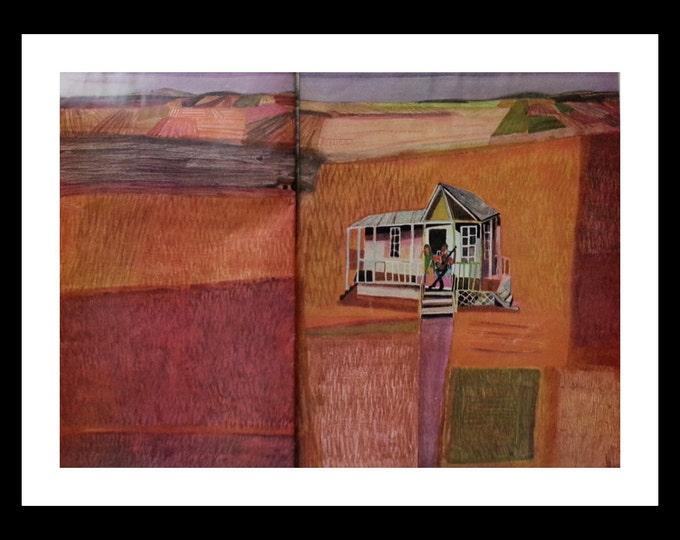 Folk Art Farm Portrait.  Illustrated Story Art Guitar Player on Porch.  Jill St. John illustrator.  60s Post. Ready for Framing.