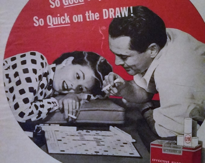 Scrabble Game Couple Smoking BW Photo 1956 Classic Night In Romance Board Games and Love L&M Cigs 13x10  Ready for Framing.