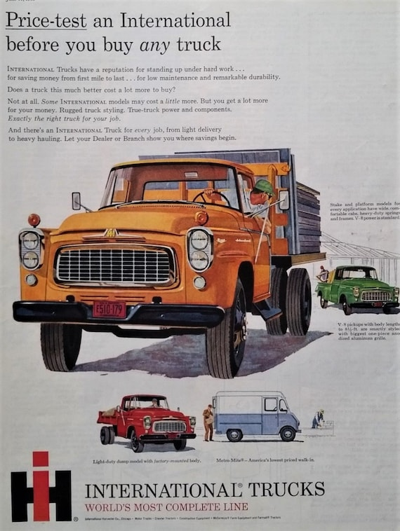 50s IH International Harvester Trucks Orange Green Illustrated Classic  Design Working Trucks Man Cave 13x10 Ready To Frame