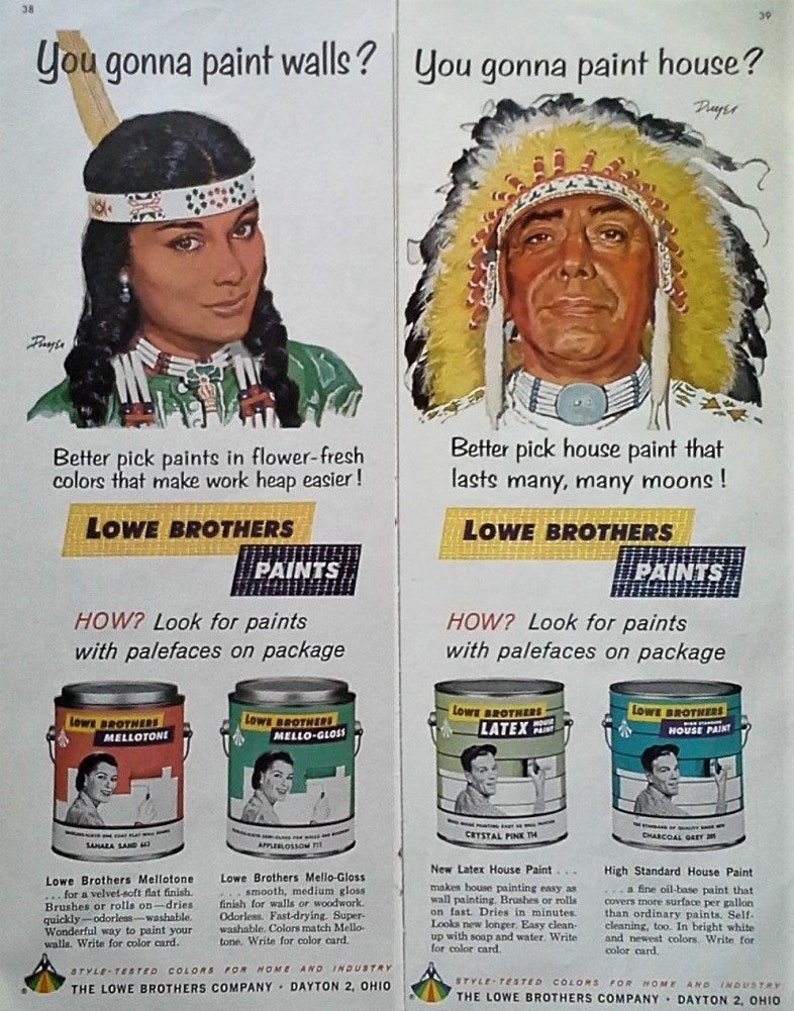 American Indians Illustrated In Ads 1965 Paint Ad Lowes Bros