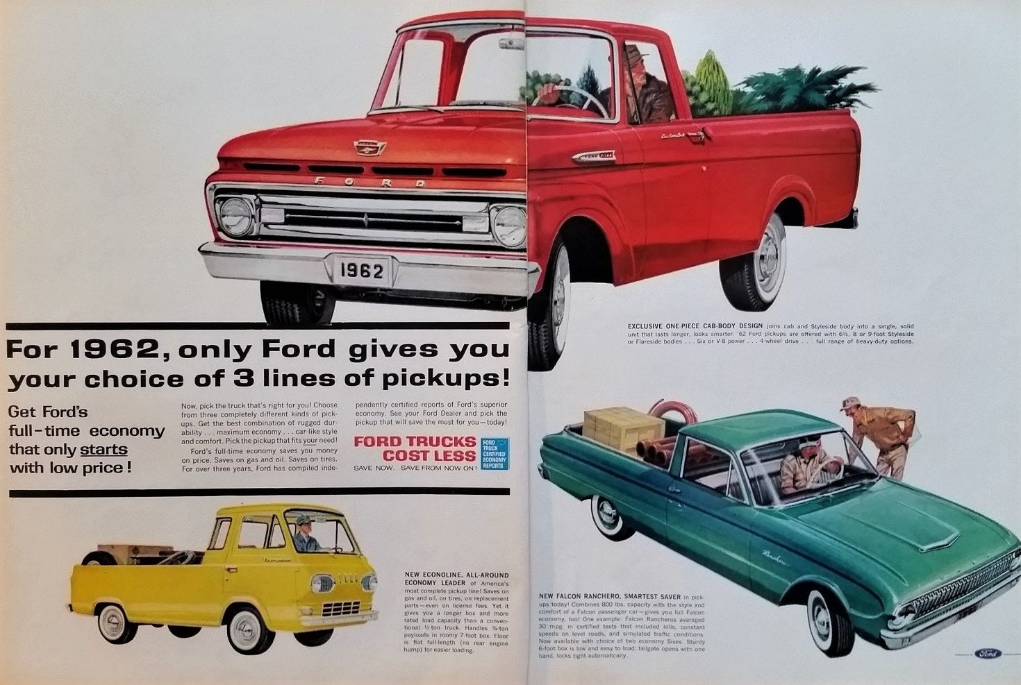 62 Ford Truck Pickup Econolne Falcon Ranchero Illustrations Classic Models  Teardrop Headlights 1962 2 pages Yellow Red 13x10 Ready Frame