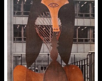Chicago's Picasso.  Daley Plaza's 1967 Pablo Picasso Sculpture.  Pickle Pig or Insect?  68 Democratic Convention Display.