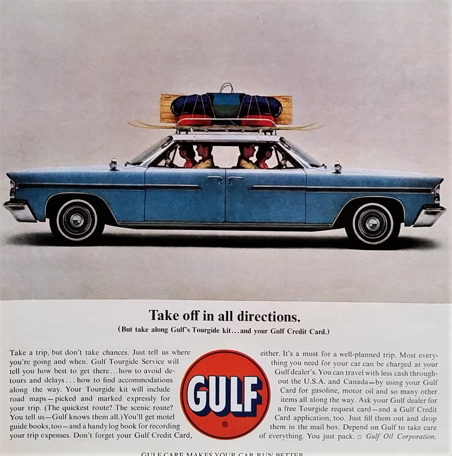 Gulf Oil Push Me Pull Me Car 'Take off in all directions ' Husband