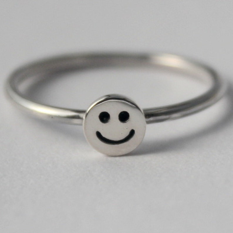 Sterling Silver Tiny Smiley Face 925 Petite Stacking Ring Etsy