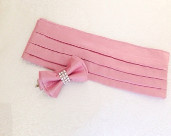 Sash and Bow Tie Set - Boys Bow Tie - Wedding Sash - Groomsmen Bow Tie - Ring Bearer - ALL COLORS