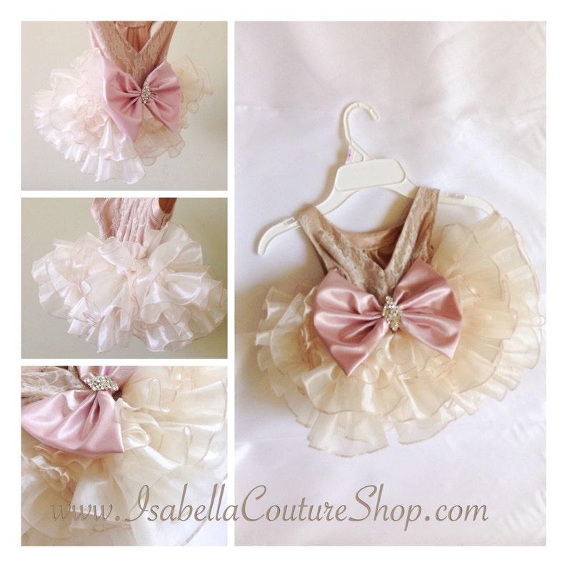 5f5e2812e04 ANGELA DRESS with Satin FOLDS Flower Girl Dress Girls Lace