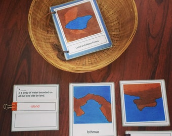 Land and Water Forms - Montessori 3 Part Card Printable