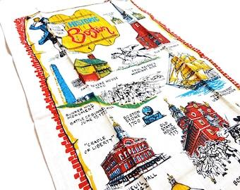 Vintage Flax Linen Historic Boston Tea Towel Wall Hanging