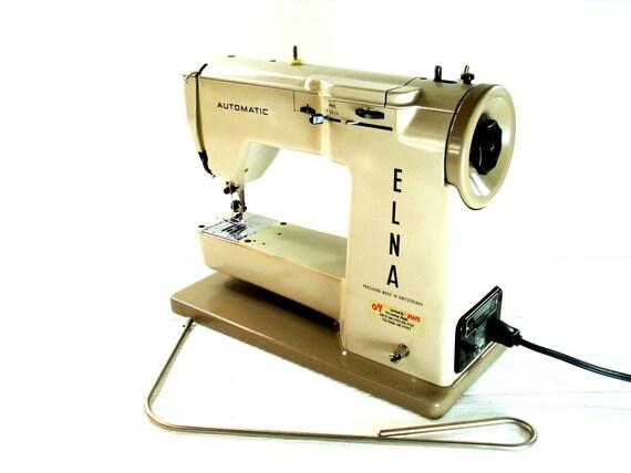 Vintage Elna Automatic Sewing Machine Beige Portable Sewing Etsy Cool Elna Sewing Machine