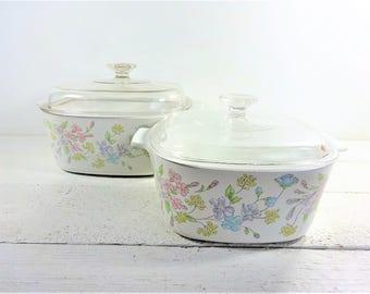 Vintage Corning Ware-Pyrex Pastel Bouquet Casserole Dishes