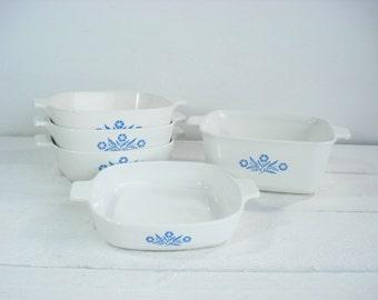 Vintage Corning Ware Blue Cornflower Corningware 5  Piece Bakeware Cookware Set Bakeware Set