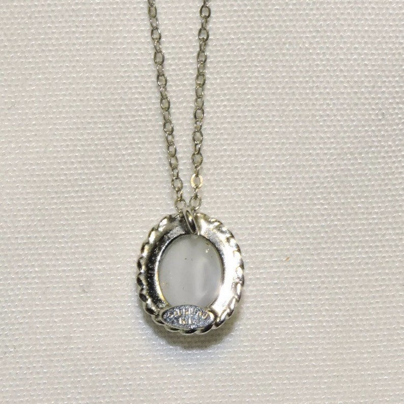 Sterling Natural Moonstone Mid-Century Retro Karen Lynne Oval Cabochon Necklace Bride Wedding Something Blue Bridesmaids Mother Daughter BFF
