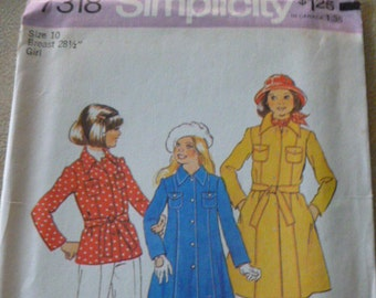 "7318 Simplicity Size 10 Breast 28 1/2"" Girl Pattern Girls Coat in Two Lengths Vintage 1975 Uncut"