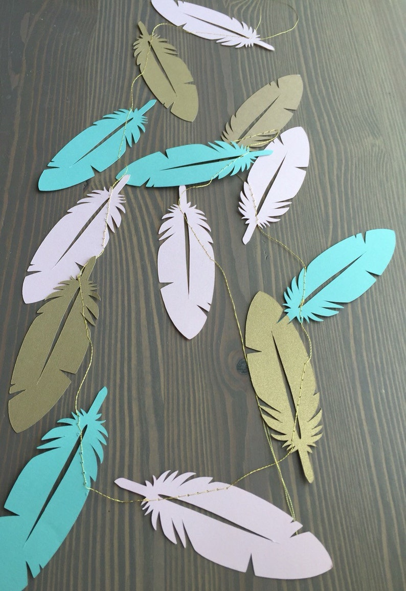 Feather Boho Party Garland  Tribal Party