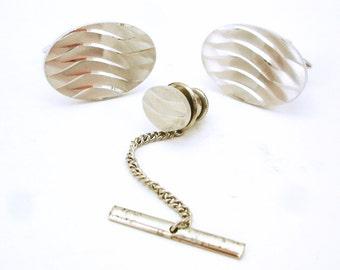 1960s GILT Cufflinks & Tie Pin / Tie Tack Set Diamond Cut Steel Silver Tone Mens Vintage Cufflink and Tie Tack Set Signed GILT