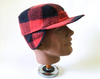 658844138ee31 1960s-70s Men s Wool Hunting Cap Mad Men Era Vintage Red   Black Plaid Hat  with Ear Flaps Made in USA - SIZE XL