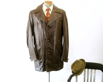 36464a92d3e 1970s Mens Brown Leather Jacket Vintage 3 Button Long Car Coat with  removable winter pile lining by JCPenney - Size 40 Long (MEDIUM)