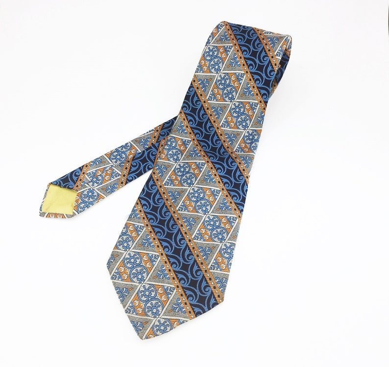 1970s Wide Disco Era Tie Men/'s Vintage Polyester Necktie with Woven Abstract Designs by Bond/'s Fifth Avenue