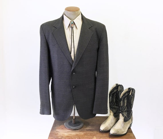 1970s TREGO'S Western Suit Jacket Dark Gray Plaid