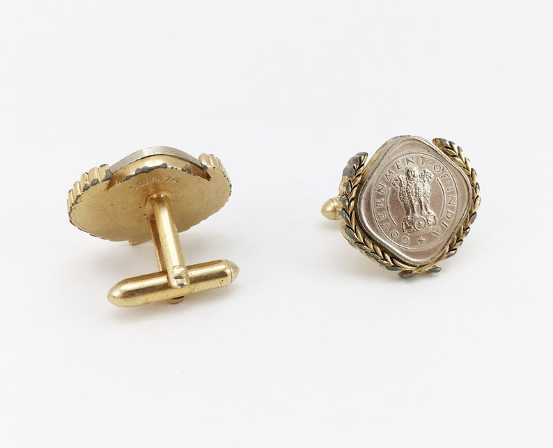 1960s SWANK Indian Coin Cufflinks Men/'s Vintage Gold Tone Metal Cufflink Set with Silver Coins from India by SWANK