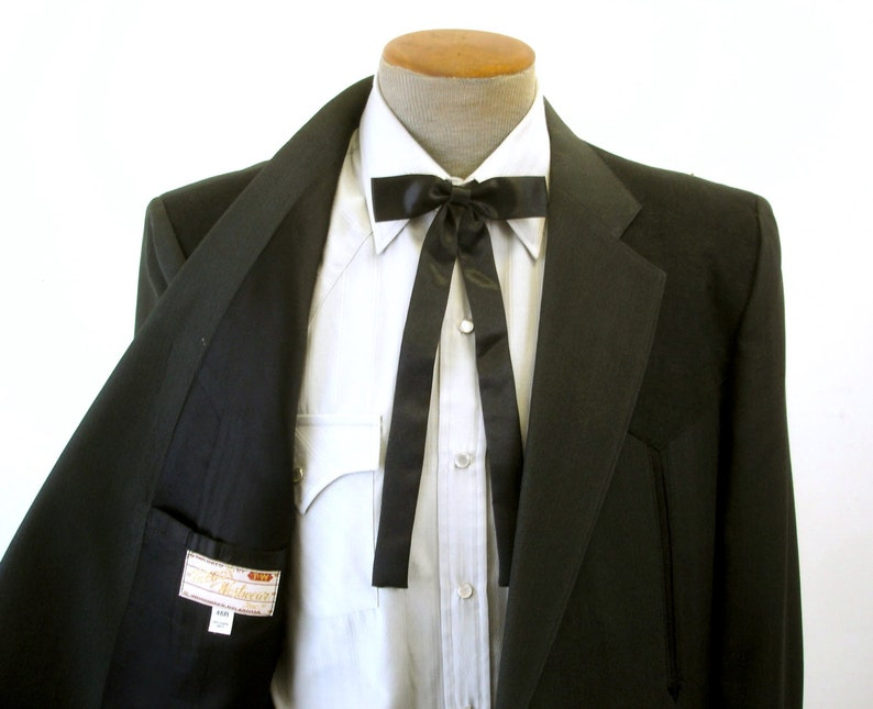 e735a8cd2a3b Vintage Black Satin Western Bow Tie Mid Century Cowboy Style | Etsy
