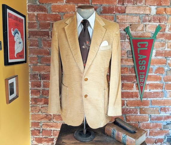 1970s Corduroy Sport Coat Vintage Men's Light Bro… - image 1