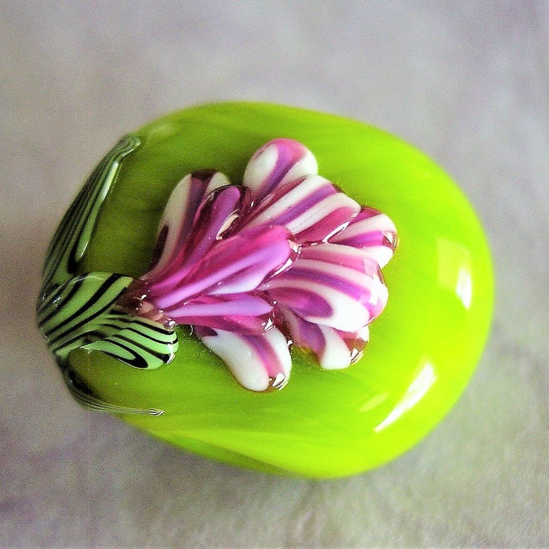 Focal Rose Bud Floral Lampwork Glass Bead ~ Lime and Fushia ~ Handcrafted