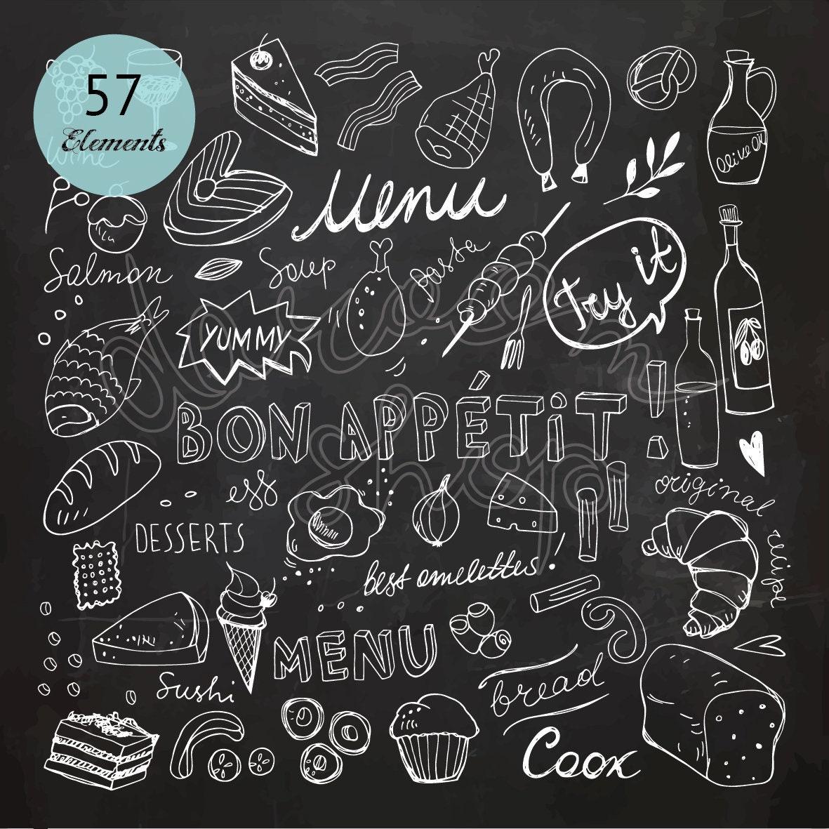 Chalk Hand Drawn Restaurant Menu Clip Art/Chalkboard Food