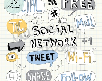 Social Media Network Icons/Hand Drawn Speech Bubbles/Wi-Fi E-mail Tag Like Share Follow Facebook Tweeter/Cartoon Doodles/Instant Download