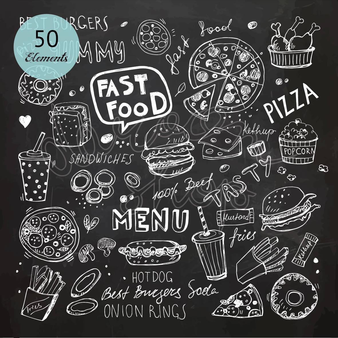 Chalk Hand Drawn Fast Food Clip Art Chalkboard Clipart