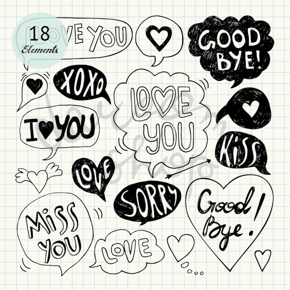 Love Speech Bubble Clip Art Valentine Clipart Love Letter Message Digital Stamp Set Hand Drawn Word Art Cartoon Doodle Instant Download